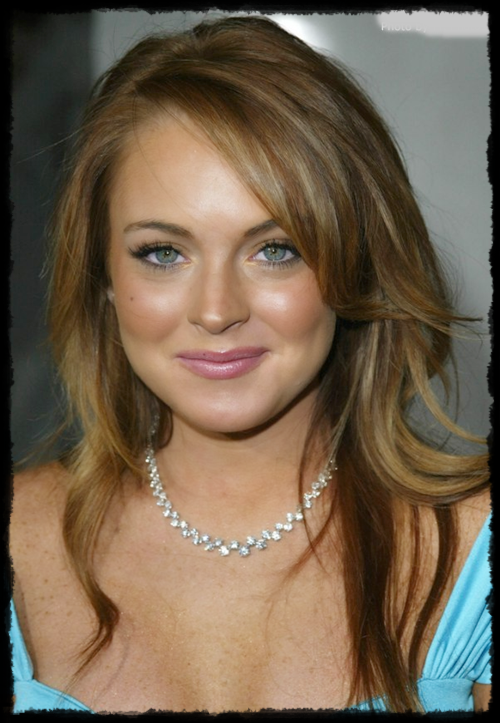 lohan's dark blonde hair