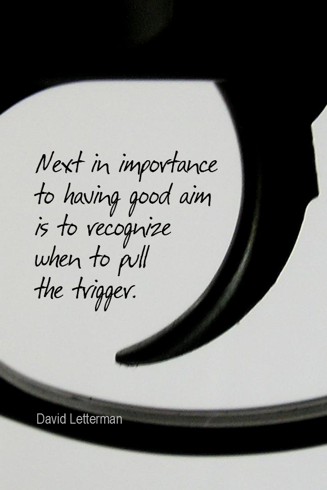 visual quote - image quotation for Action - Next in importance to having a good aim is to recognize when to pull the trigger. - David Letterman
