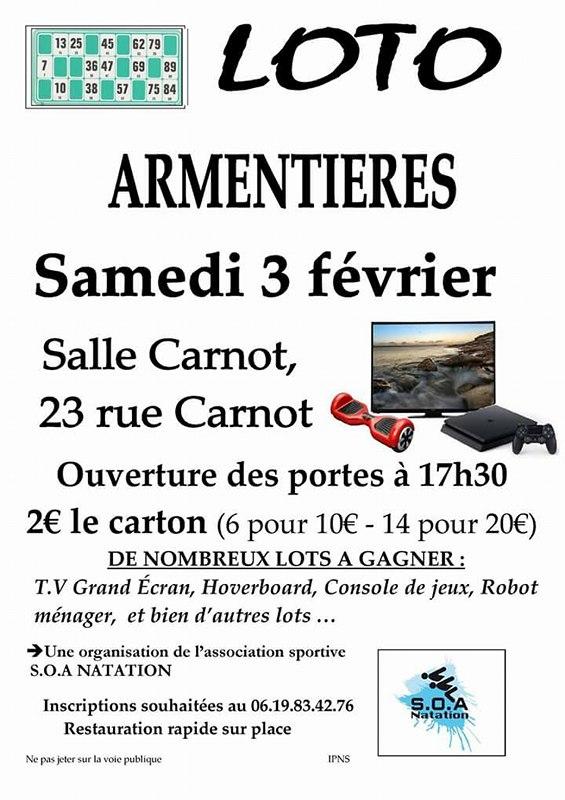 Grand Loto du club SOA d'Armentières le 3 février Salle Carnot