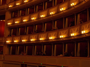 """View of the """"Box Galleries"""" of Vienna State opera during play """"Rigoletto""""."""