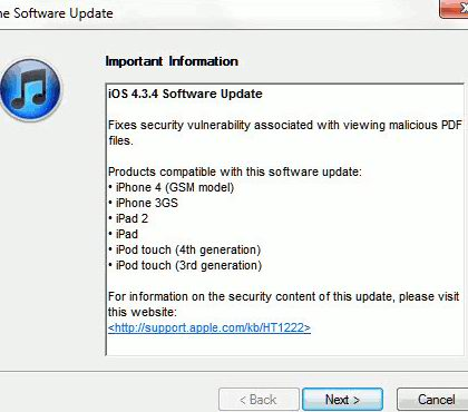 iOS 4.3.4 Update Prevent Jailbreak via PDF Exploit