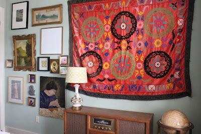Suzani, Gallery wall, art collage wall, art, modern collage, suzani