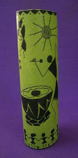 Warli painting on a recycled vase