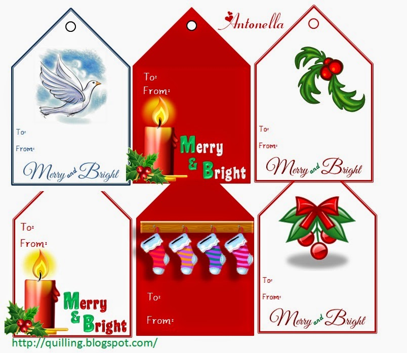 Free Merry and Bright Gift Tag Printable from Antonella at www.quilling.blogspot.com