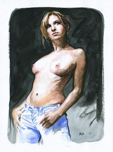 René Bui - Etude de nu à l'aquarelle 150142 - 2015