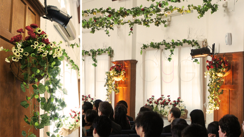Decygn rustic charmed garden wedding dcor one that truly transformed the church hall was the additional of floating garland lattice decorated with flowers and fairy lights junglespirit Image collections