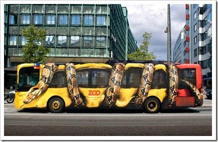 Boa enroscada en autobus.