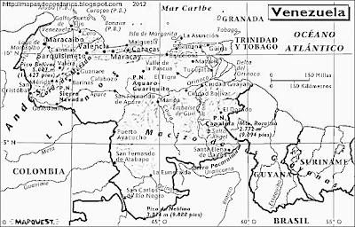 Mapa Fisico de VENEZUELA, Atlas, blanco y negro