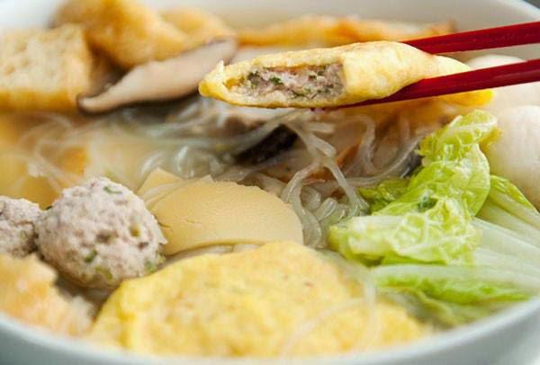Vietnamese Noodle Recipes - Miến với Hoành Thánh Trứng