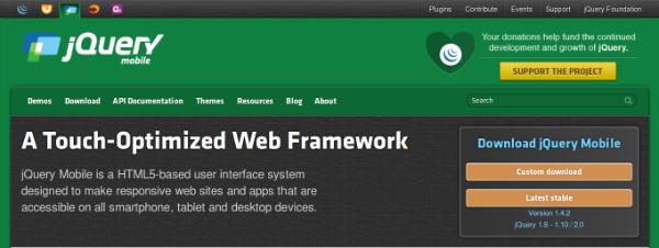 jQuery Mobile UI framework
