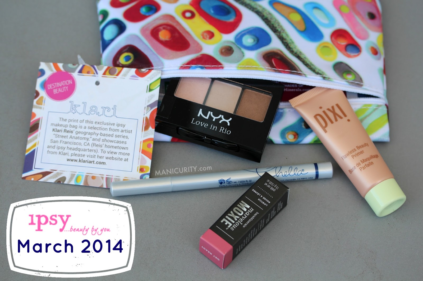 Ipsy Glam Bag March 2014 - Destination Beauty with Pixi Flawless Primer, Nyx Love in Rio eyeshadow trio in LIR06 Segredos de Giselle, Chella Eyeliner pen in Indigo Blue, bareMinerals Moxie Lipstick Get Ready swatches, review | Manicurity.com
