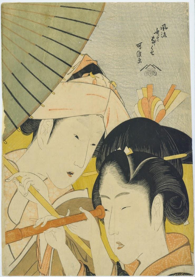 Katsushika Hokusai (1760 -1849) « Longue vue » Série : Sept manies des jeunes femmes sans élégance Fūryū nakute nanakuse Tōmegane Ère Kyōwa (1801-1804) Estampe nishiki-e, format ōban 36,5 × 25,4 cm Signature : Kakō ga Éditeur : Tsuta-ya Jūzaburō collection particulière © Galerie Sebastian Izzard LLC