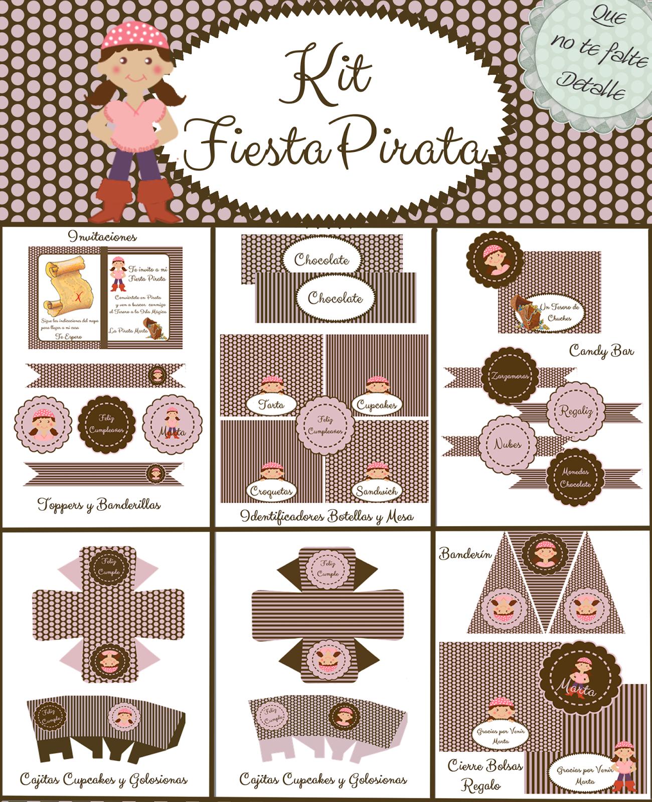 Kit Imprimible Fiesta Pirata Niña