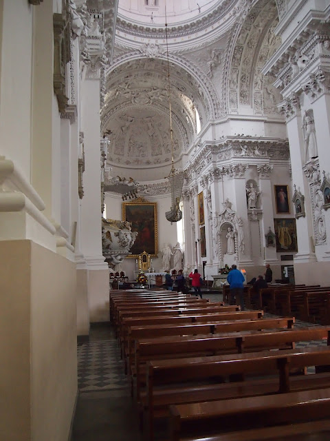 The baroque interior of St. Peter and Paul's Church in Vilnius, Lithuania.