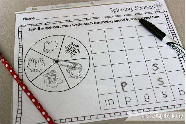Miss Kindergarten {spinning sounds- identifying beginning sounds}