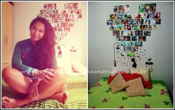 coração de fotos na parede