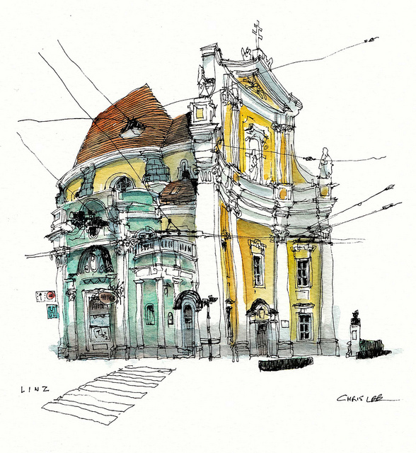 20-Austria-Linz-Chris-Lee-Charming-Architectural-wobbly-Drawings-and-Paintings-www-designstack-co