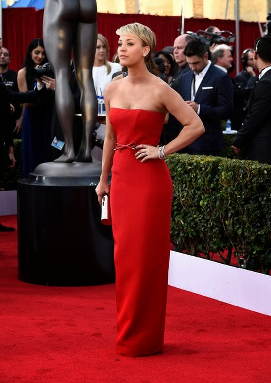 I think Kaley Cuoco has definitely mastered the art of choosing a show stopping dress.  Wanted to make sure all eye on her, the 29-year-old strutted her stuff down into the Screen Actor Guild (SAG) Awards, wearing an excellent red strapless gown by Romona Kaveza.