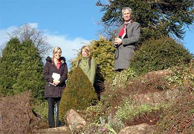 Team Ryder - Becky, Cathy and Jeremy speak from a rockery near Dumfries