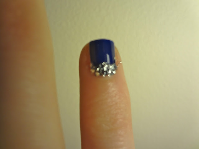 navy blue polish with silver glitter