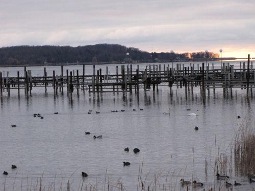 sunset on Portage Lake