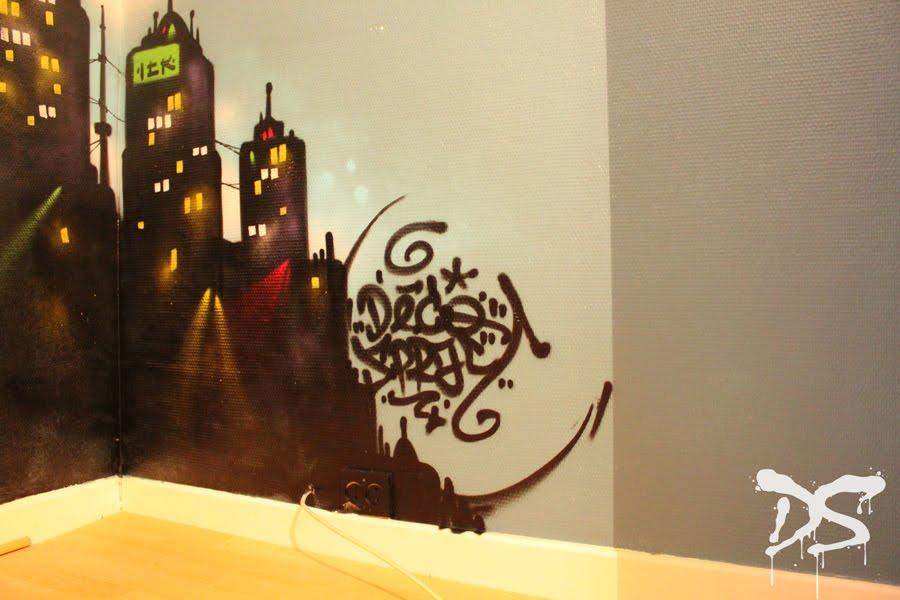 chambre d 39 enfant x new york deco spray d coration ev nementiel graffiti. Black Bedroom Furniture Sets. Home Design Ideas