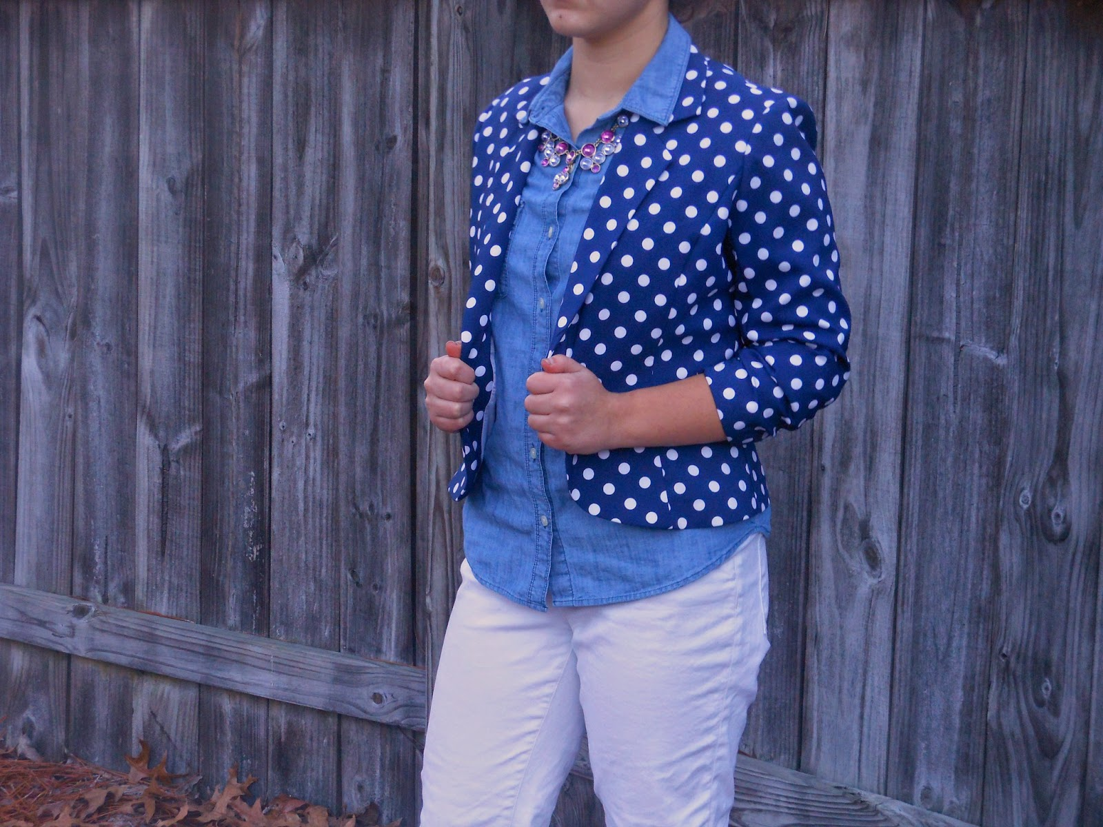 Chambray and Polka Dots. Polka dot blazer, chambray, white jeans, black boots, purple necklace