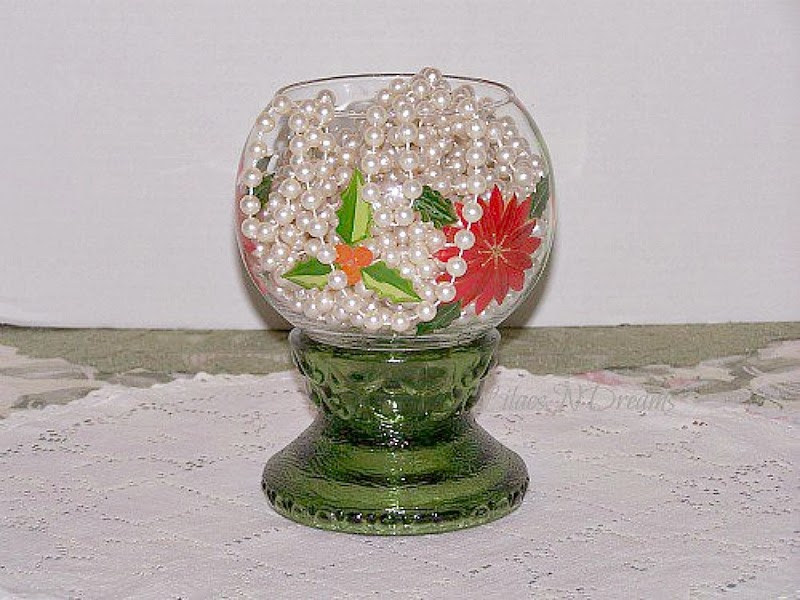 Lilacsndreams shoppe christmas candy bowl stand green