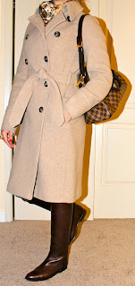 J Crew coat and Hermes jumping boots on petite fashion blogger