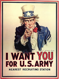 "Army recruiting poster from World War I with Uncle Sam pointing at the view and stating ""I was YOU for U.S. Army"""