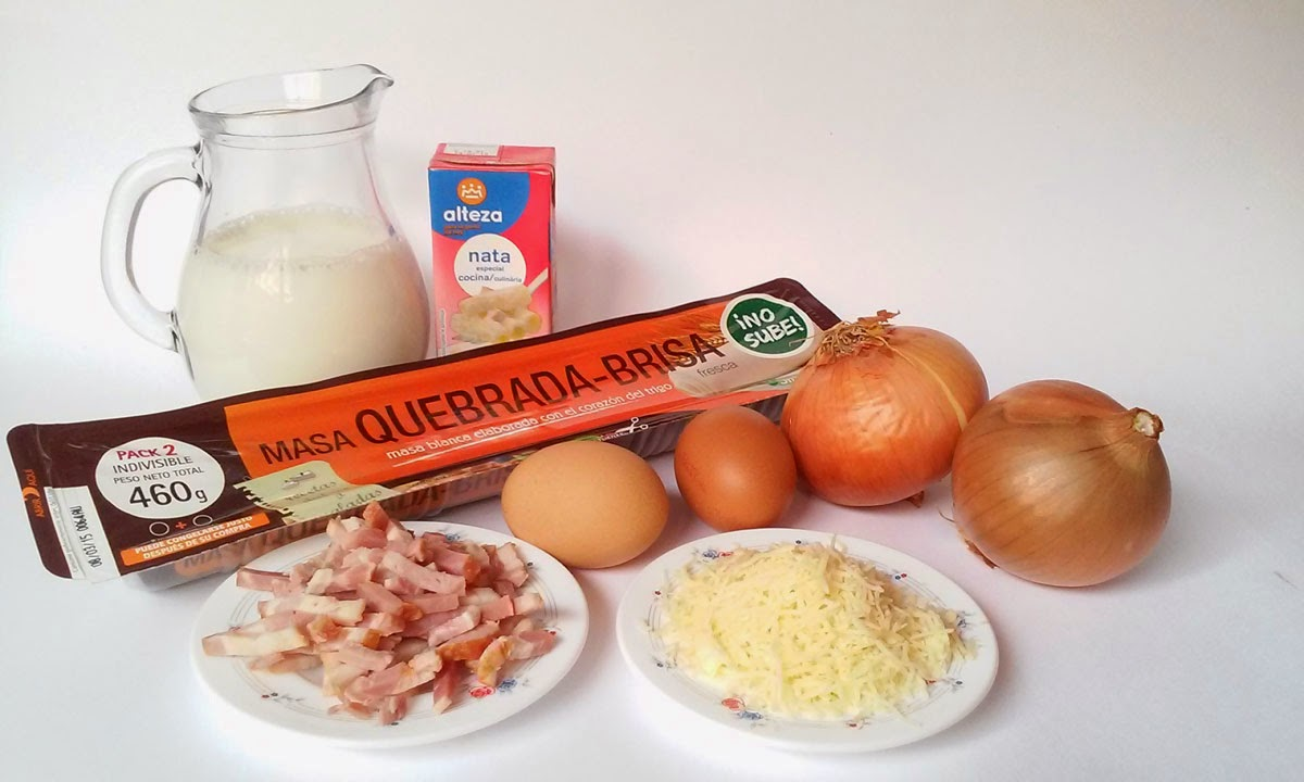 ingredientes quiche beicon y cebolla