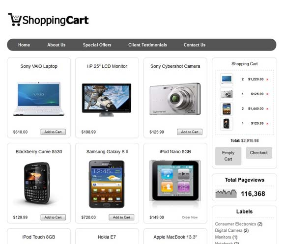 Shopping Cart Blogger Templates
