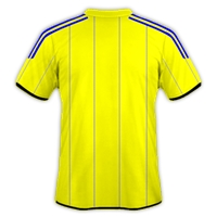 Jersey Bola Kuning Bergaris Biru desain jersey gratis