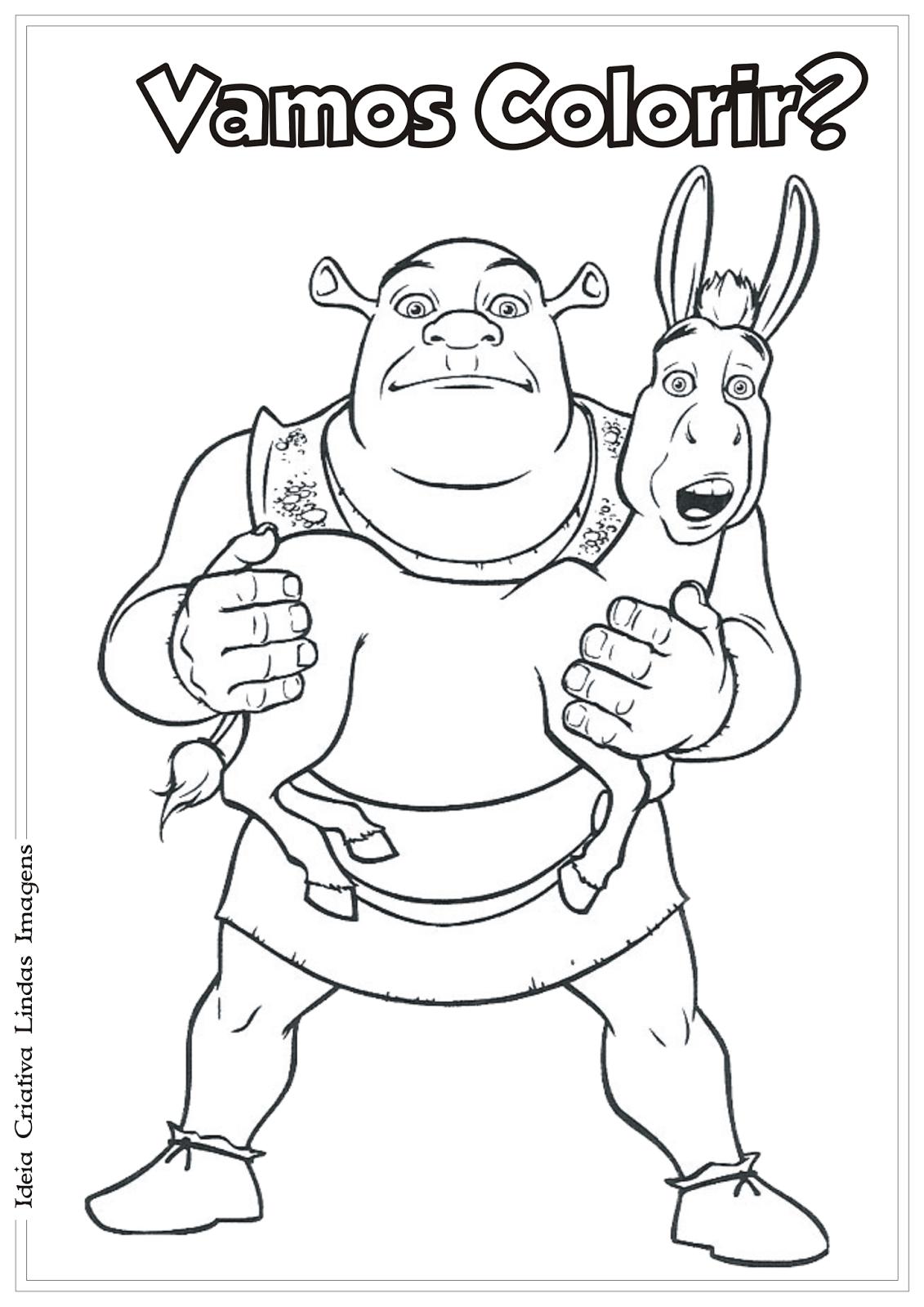 Shrek e burro desenho para colorir