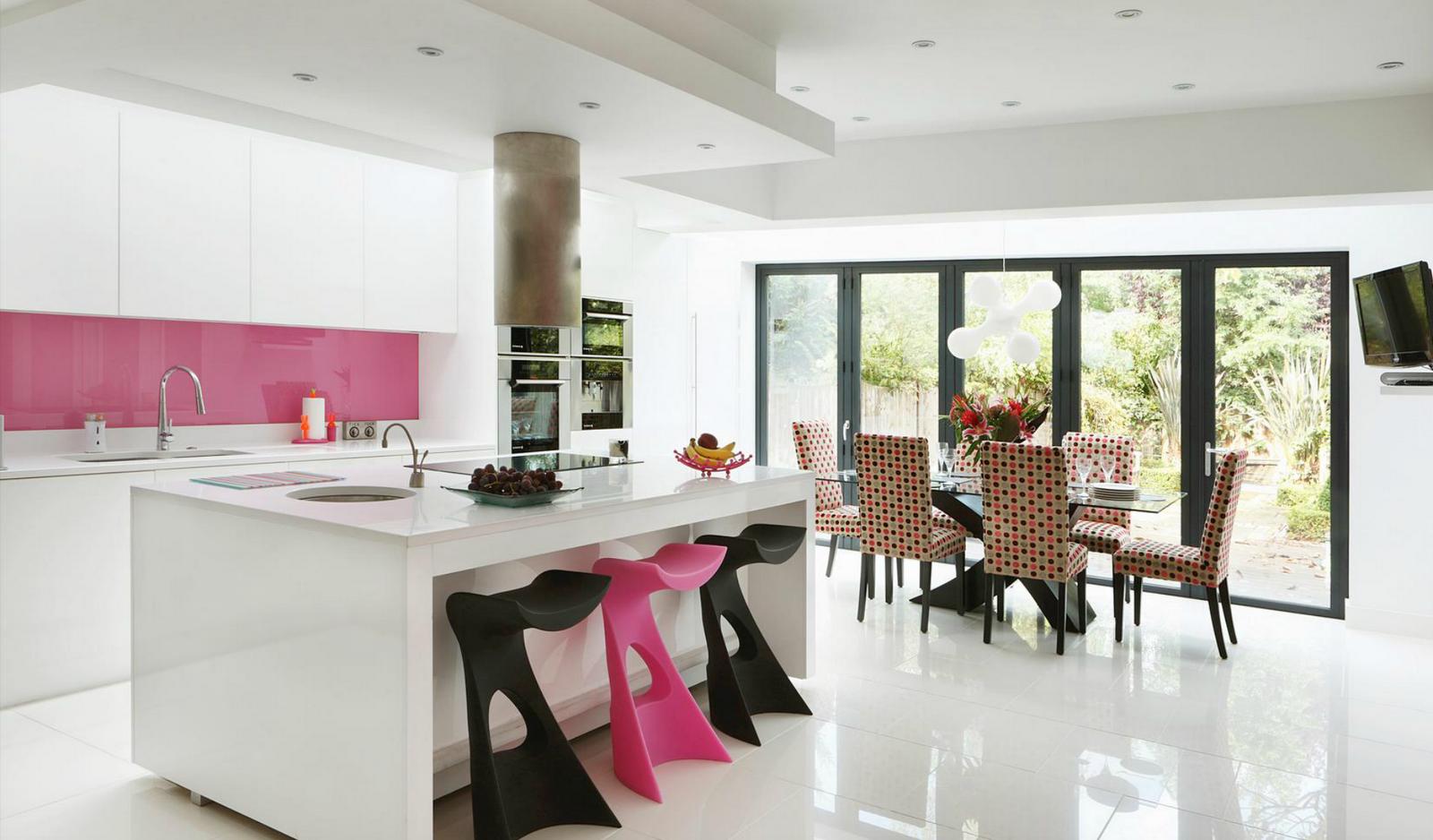 Sala De Jantar E Cozinha Conjugada ~   arquitetura e construção Cozinha, receber em tom de rosa