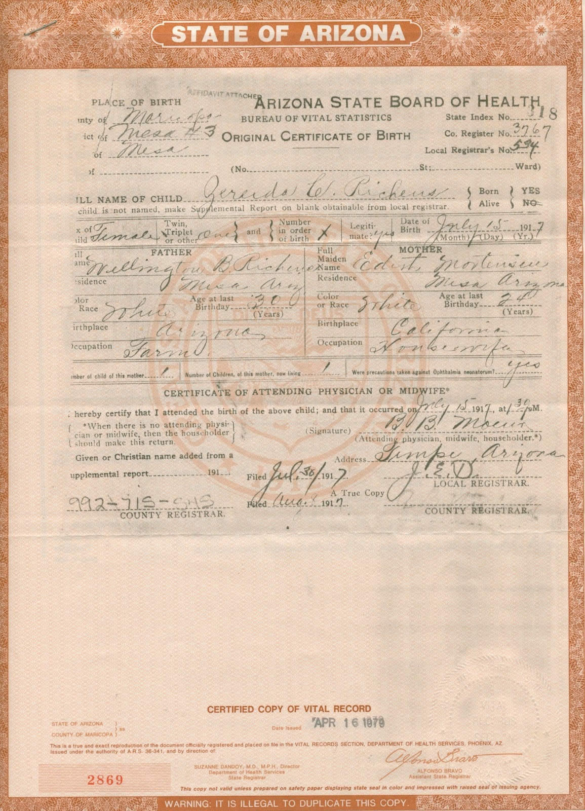 Family history birth certificate 1917 aiddatafo Gallery