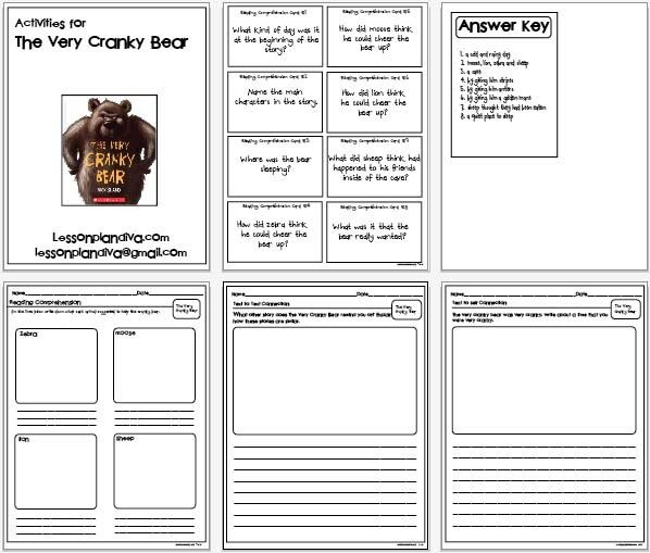 Classroom Freebies The Very Cranky Bear Activities