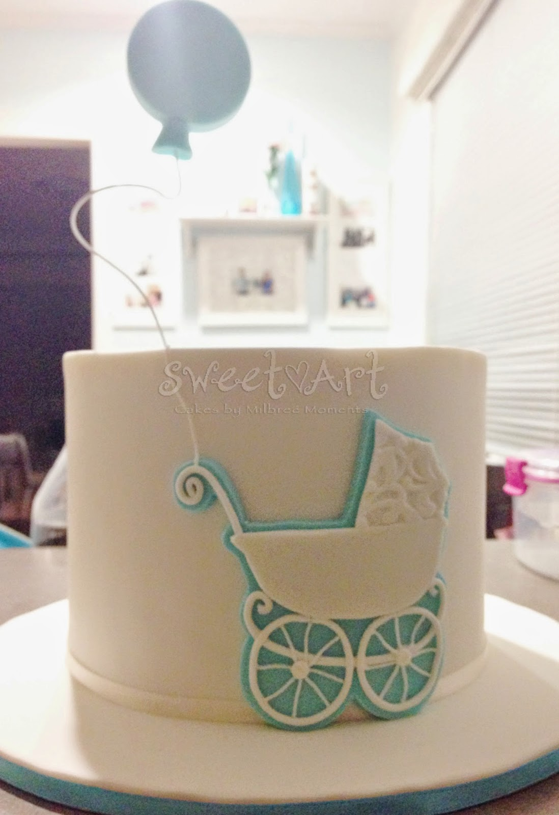 Delightful Vintage Baby Carriage Baby Shower Cake