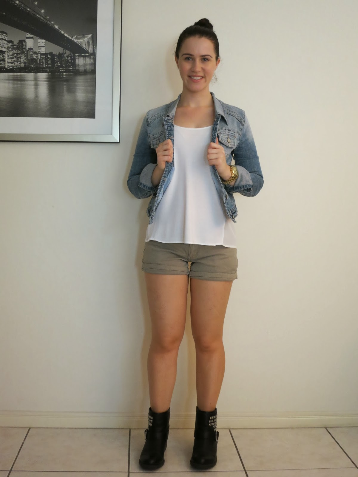 summer outfit, petite outfit, everyday outfit, khaki denim shorts, denim jacket, biker boots, shorts and biker boots, sheer panelled top