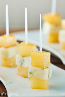 Pinchos de peras con miel y gorgonzola