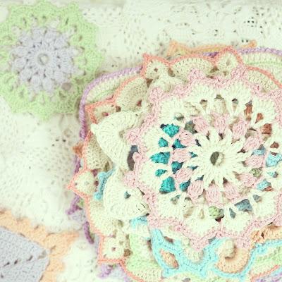 ByHaafner, crocheted doilies, pastel, crochet, stack