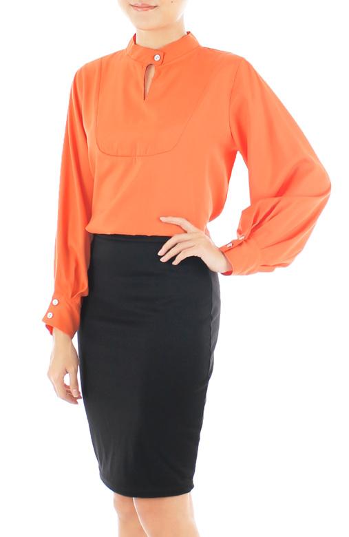 Conference Chic Long Sleeve Blouse - Orange