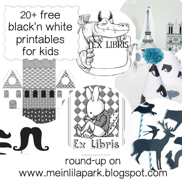 Free black-and-white printables kids will love - schwarz-weiß Druckvorlagen - round-up