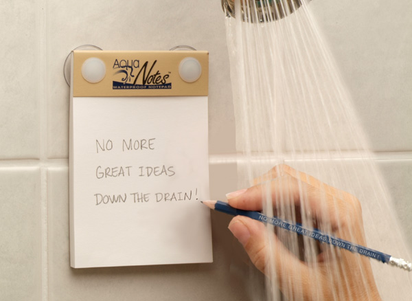 AquaNotes waterproof notepad for the shower (via Holly Would)