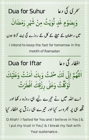 Sehr o Iftar Ramazan ki Dua - Roza Rakhna or Kholna ki Dua
