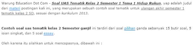 downlod Soal UAS Tematik Kelas 2 Semester 1 Tema 1 Hidup Rukun kurikulum 2013
