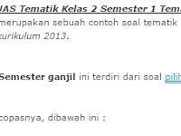 Soal UAS Tematik Kelas 2 Semester 1 Tema 1 Hidup Rukun
