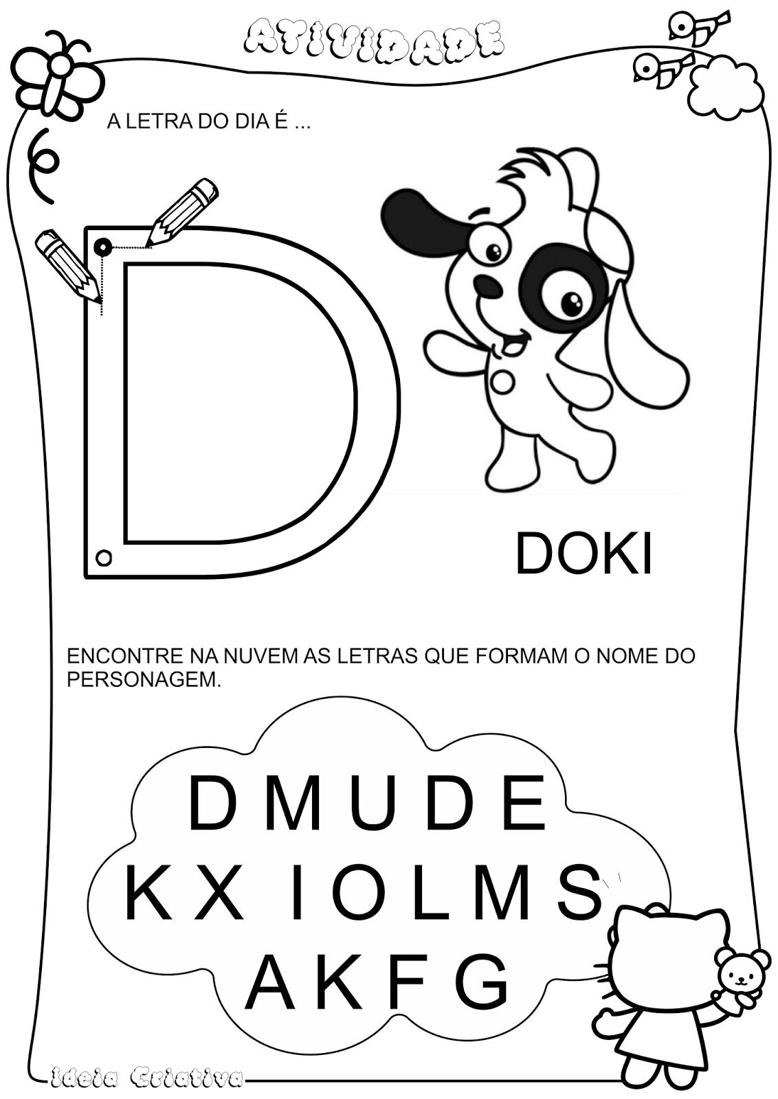 Atividade Doki Letra D Coordenação Motora Fina