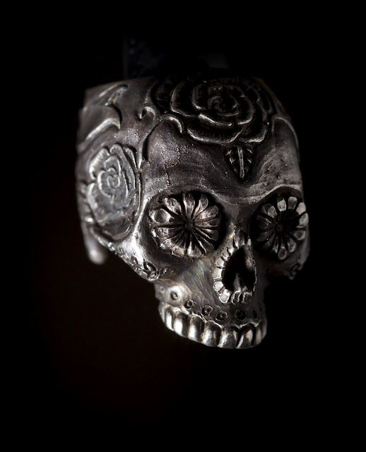 Raw silver flower skull ring from Manila's 13 Lucky Monkey