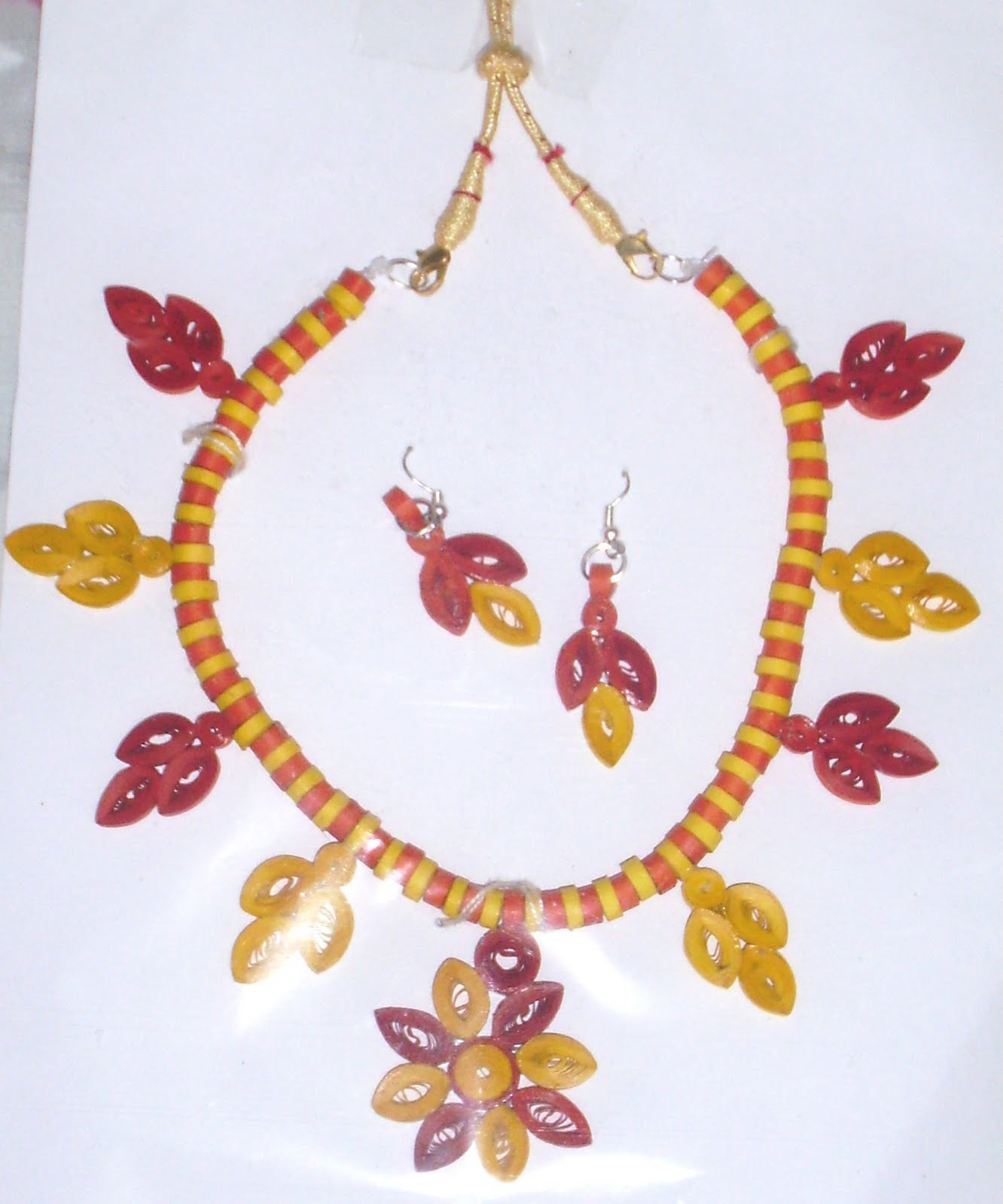 Quilling Jewellery Necklace Yellow Quilled Necklace
